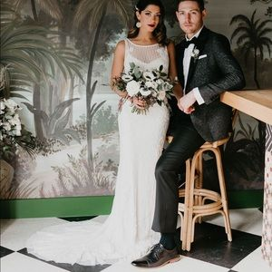 Theia hand embroidered mermaid wedding gown